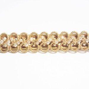 Vintage Miriam Haskell Gold Pearl Bar Brooch Pin